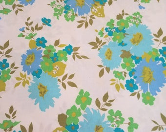 Amazing blue and green floral full flat sheet