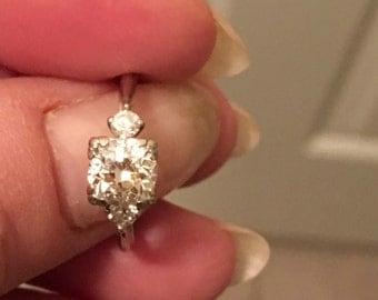 European cut 1 carat Diamond Engagement Ring