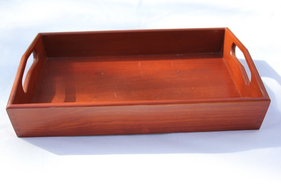 Cherry wood serving tray ottoman vanity
