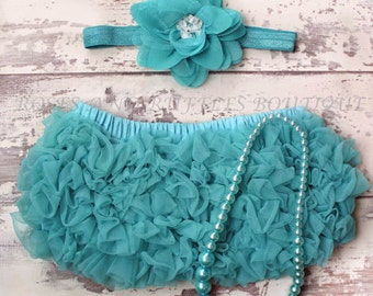 Teal Baby Bloomers Outfit, Baby Girl Bloomers, Baby Diaper Covers Set, Infant Bloomers, Baby Photo Prop, Newborn Bloomers, Toddler Bloomers