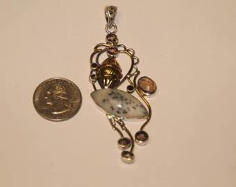Vintage sterling silver multi stone pendant baek