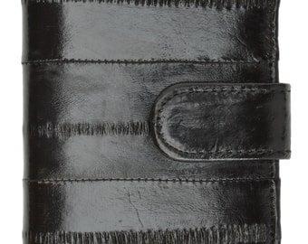 Genuine Eel Skin Credit Card Case with Snap Closure Black, Brown, Burgundy E 570