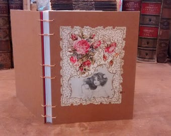 nobody knows this little rose / vintage floral / coptic stitch blank journal / notebook / sketchbook