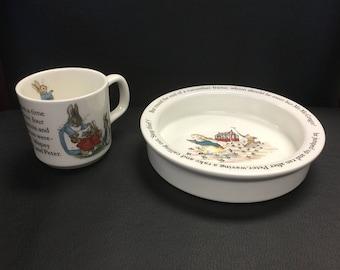 Beatrix Potter Peter Rabbit Wedgwood Bowl and Mug Set Made in England