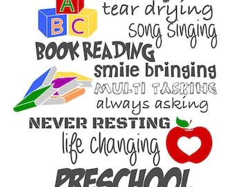 I am a Preschool Teacher and I am a Kindergarten Teacher and I am a Pre-K Teacher - svg, pdf, png files