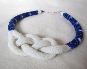 Blue flowers Josephine Knot Rope . Beaded necklace Rose beads, Beads harness necklace rose, Crochet necklace flowers, Knot Rope necklace