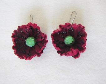 Earrings Poppy Leather, Flowers Earrings poppy, Earrings red Poppy,  Summer Flowers Earrings, Earrings Poppy, Wedding Earrings Red Poppy