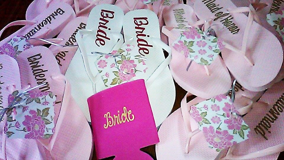 Personalized Bridal Party Flip Flops Bridesmaid By LettermixStudio