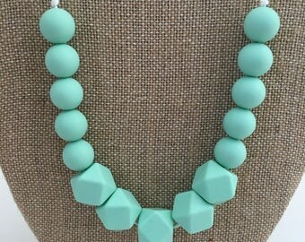 Mint Teething Necklace // Mom Necklace // Nursing Necklace // Baby Shower Gift