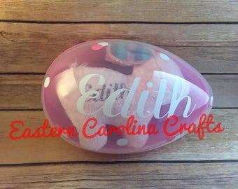 Personalized Jumbo Plastic Easter Egg with Plush Stripped Easter Bunny - Monogram Easter Egg & Bunny