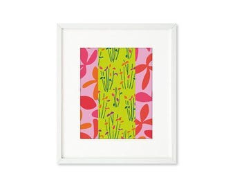 Garden Graphic - single print, contemporary graphic floral, abstract botanical, modern, wall art, home décor, multiple patterns