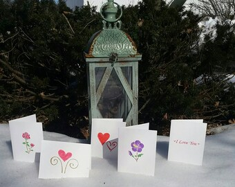 Love Greeting Cards Group 2; Set of 5; blank inside