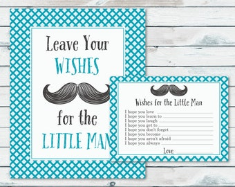 Mustache Baby Shower Wishes For Baby Printable Cards And Sign, Advice For The Little Man Well Wishes Cards, Mustache Printable Cards