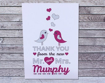 Personalized Wedding Thank You Cards Bird / Single or Pack