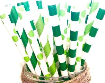 St patricks day straws-set of 25, green straws, st patrick's day straws, green paper straws, irish straws