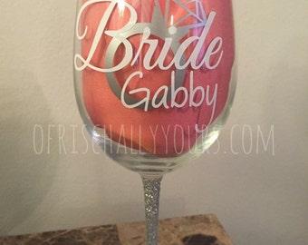 Bridal Party / Bridesmaid / Bride Wine Glass SPARKLY
