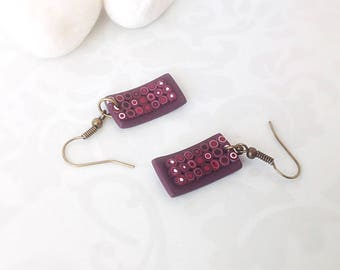 Red Purple Earrings , Gift for her , Drop Dangle Earrings, Modern Earrings , Polymer clay earrings , Contemporary Jewelry