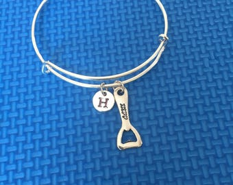 bottle opener initial Bracelet, bottle opener Bracelet Bangle, gift for bartenders , CP23