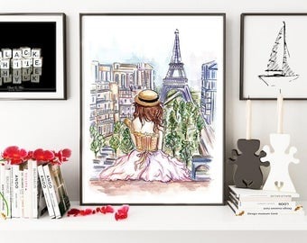 Paris girl, Paris, girly art, wall art, fashion illustration, watercolor, fashion print, art print, artwork, architecture
