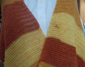 Brown, Tan, Yellow,  Multicolor Wrap/ Shawl
