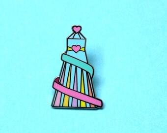 Helter skelter corkscrew slide silver hard enamel pin   cute pastel pin   fairground pin   seaside pin   rides   carnival pin   nostalgic
