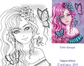 Butterfly - Fantasy Coloring Sheet Digi Stamp Adult Coloring Girl. Instant Download!