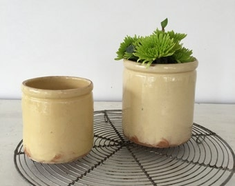 Set of 2 vintage French earthenware pots