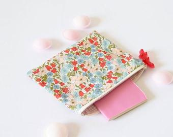 Liberty zipper pouch , zipper pouch , bag organizer , floral clutch , teacher's gift , floral clutch , pink , liberty of london , flowers