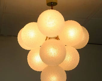 1960's ten globe sputnik orbit snowball CHANDELIER white glass and metal