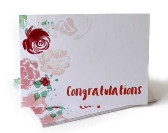 Watercolor Flowers Congratulations Greeting Card