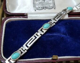 Vintage 925 sterling silver bracelet, greek key, turquoise gemstones, 11gr