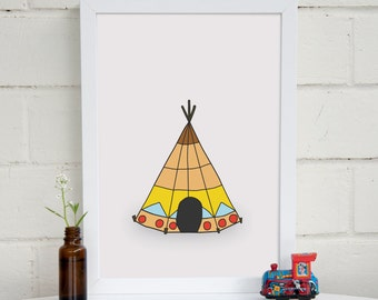 Teepee Nursery Art | Tribal Nursery | Boho Baby Decor | Tribal Theme Nursery | Kids Wall Art | Playroom Wall Art  | Kids Room Decor