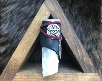 Selenite Wand • Raw • Talisman • Wicca • Pagan • Pentacle • Divine • Leather • Suede • Magic • Healing • Energy • Metaphysical • Meditation