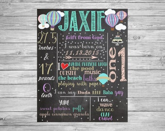 First Birthday Chalkboard/1st Birthday Chalkboard/Hot Air Balloon/Hot Air Balloon Theme Decorations, Printable Poster, Teal, Turquoise, Pink