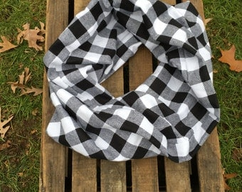 White and Black Buffalo Plaid Infinity Scarf