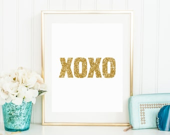 XOXO Quote Printable - Gold Glitter Sparkle Print - Kate Spade Inspired - Instant Download - Art Decor - High Resolution - Glam Print