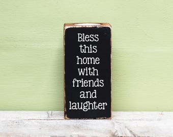 Wooden Candle Holder, Rustic Candle Blocks, Bless This Home With Friends And Laughter, Reclaimed Wood, Tealight Holders, Quote Candles