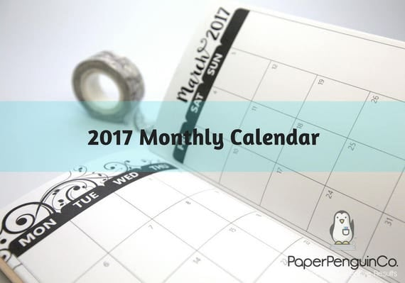 Midori Insert 2017 Monthly Calendar Regular A5 B6 Wide A6 Personal Pocket FN Passport 12 Month Gray/Neutral Kraft Brown Traveler's Notebook
