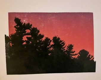 Treeline sunset print, pine trees landscape print,  handprinted evergreen silhouette, handcarved linocut, Canadian Shield pine trees sunrise