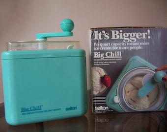Vintage Salton Big Chill Non-Electric 1 1/2 Quart Ice Cream Maker - Turquoise