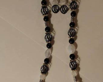 Fancy Black Cage Beaded Necklace