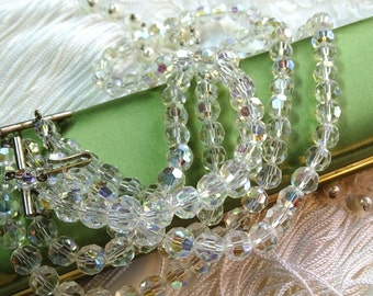 Crystal necklace marked Austria Salvaged from broken Jewelry An absolutely stunning necklace.