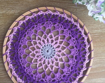 Crochet Mandala Dreamcatcher, Mandala Wall Hanging, Boho Home Decor, Doily, Mandala, Wall Art, Handmade