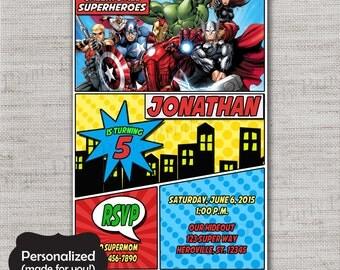 Superhero Birthday invite,Avengers Birthday invitation,JPG file,Birthday Invite,Superhero invitation,Superhero,DPP49