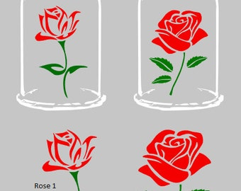 Rose window decals, red rose, car decal, laptop decal