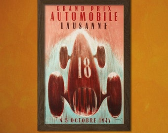 FINE ART REPRODUCTION Grand Prix of Belgium Brussels 1947 Vintage Car Poster Retro    Eugène Old Car Chaboud