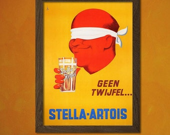 FINE ART REPRODUCTION Stella Artois Beer Print  Vintage Kitchen Poster Beverage    Art Print Kitchen  Beer Poster Gift