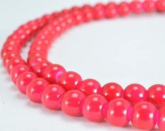 Fuchsia Glass Beads Round 6mm Shine Round Beads For Jewelry Making Item#789222045708