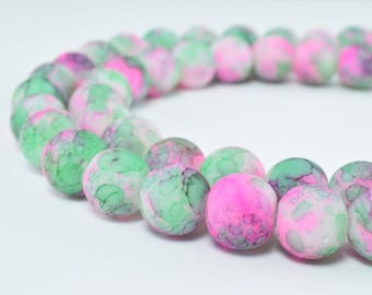 Glass Beads Matte Two Tone Rubber Over Glass Size 10mm Round For Jewelry Making Item#789222046200