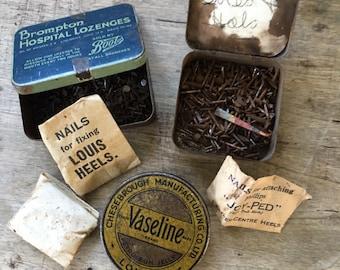 Pharmacy tins, chemists tins, 3 metal tins, metal boxes, vintage medical tins, vaseline tin, collectible tins, vintage tacks, vintage nails